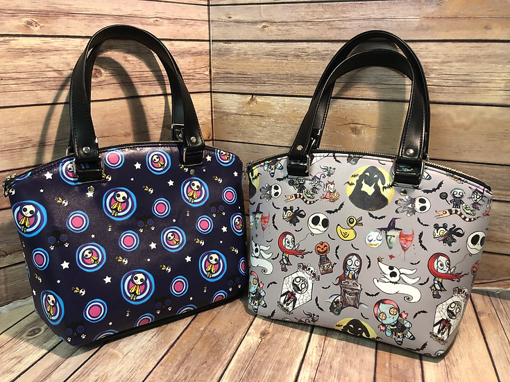 Coraline or Nightmare Before Christmas Faux Vinyl Domed Handbag -Ready to Ship