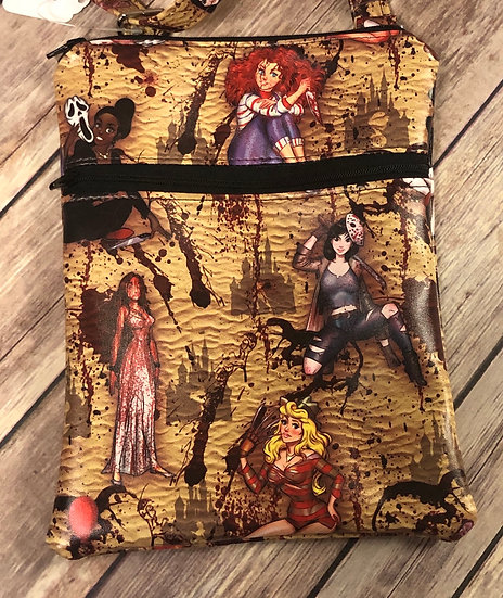 Serial Killer Princesses Faux Leather Double Zip Crossbody Bag - Ready to Ship