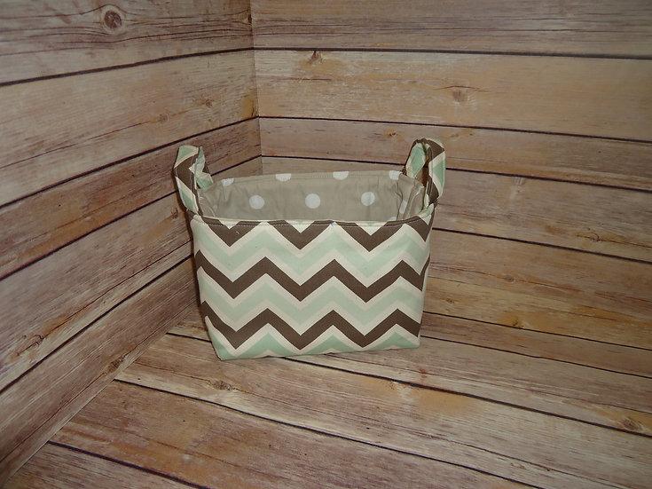 Mint & Brown Chevron Fabric Storage Basket