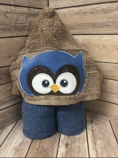 Blue Owl Child Size Hooded Towel - Ready to Ship