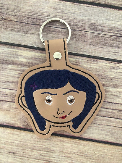 Coraline Head Embroidered Key Chain