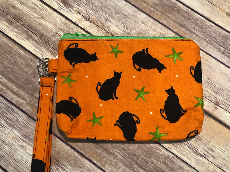 Black Cats on Orange themed Wristlet - Ready to Ship