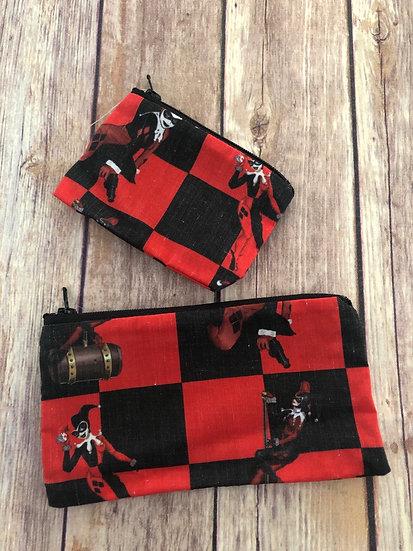 Harley Quinn Zipper Pouch - Ready to Ship
