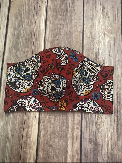 Sugar Skulls on red Themed Adult Washable Fabric Face Mask - Elastic or Ties