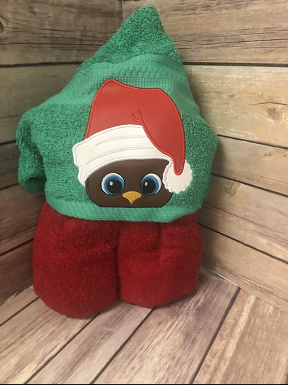 Holiday Owl in Red Hat Child Size Hooded Towel - Ready to Ship
