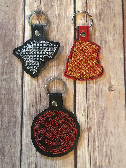 GoT House Sigil Embroidered Key Chain - Choose your House