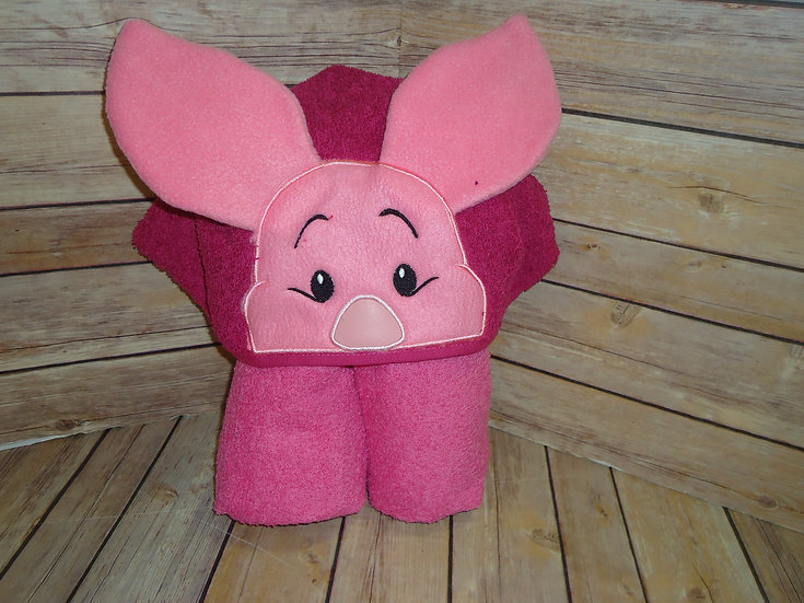 Silly Little Pig 3D Hooded Towel