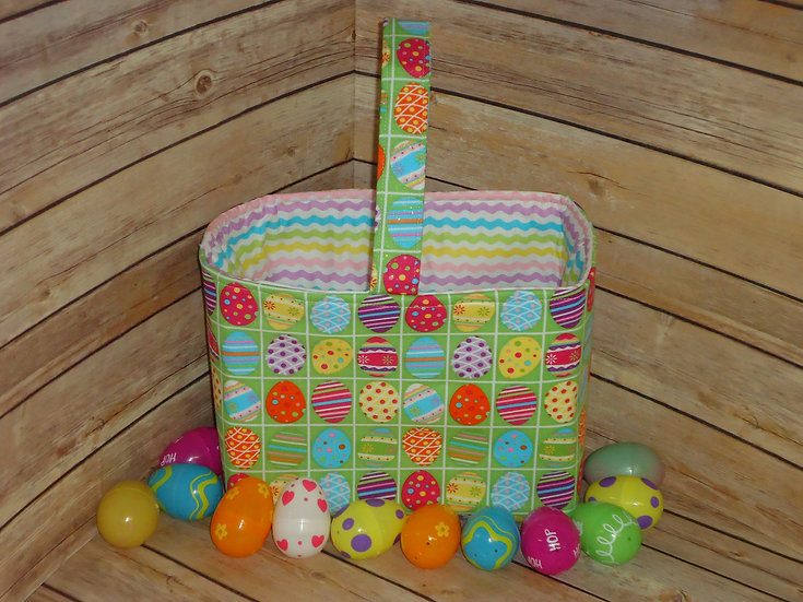 Easter Fabric Basket ~Green w/Easter Eggs