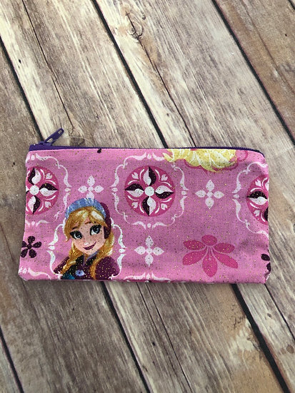 Frozen's Anna on glitter pink Zipper Pouch - Ready to Ship