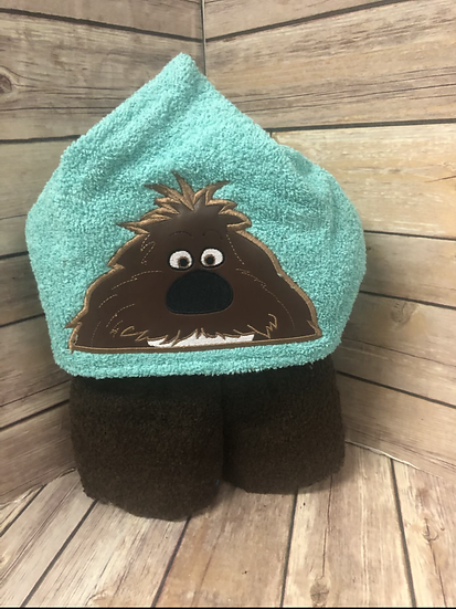 Duke Brown Shaggy Dog Child Size Hooded Towel - Ready to Ship