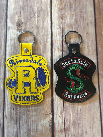 Riverdale Vixens or Southside Serpants Embroidered Key Chain
