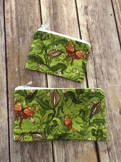 Butterflies on green Zipper Pouch - Ready to Ship