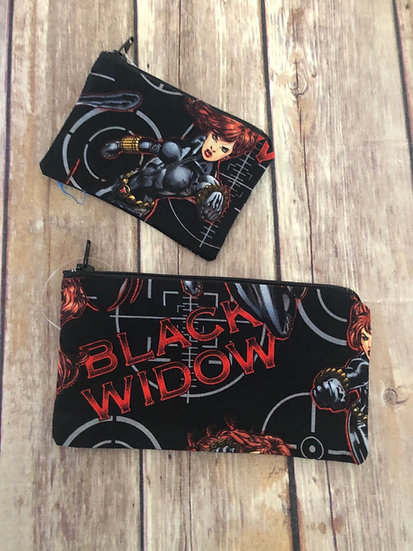 Black Widow Zipper Pouch - Ready to Ship