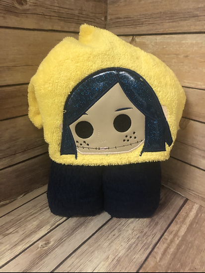 Coraline Child Size Hooded Towel - Ready to Ship