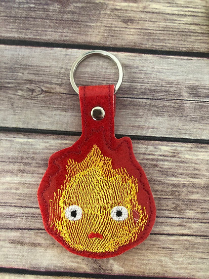 Calcifer Embroidered Key Chain