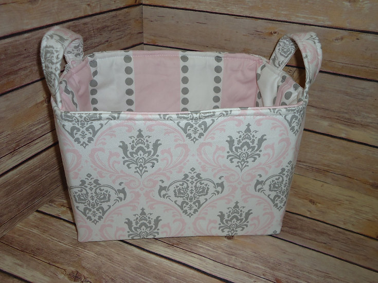 Pink & Gray Damask Fabric Storage Basket