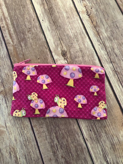 Snails on Mushrooms Zipper Pouch - Ready to Ship