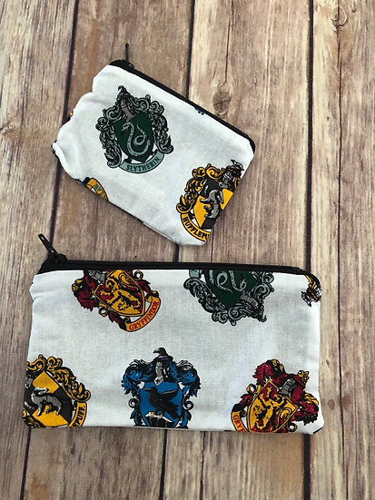 Wizard Houses on white Zipper Pouch - Ready to Ship