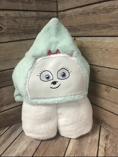 Gidget White Fluffy Dog Child Size Hooded Towel - Ready to Ship