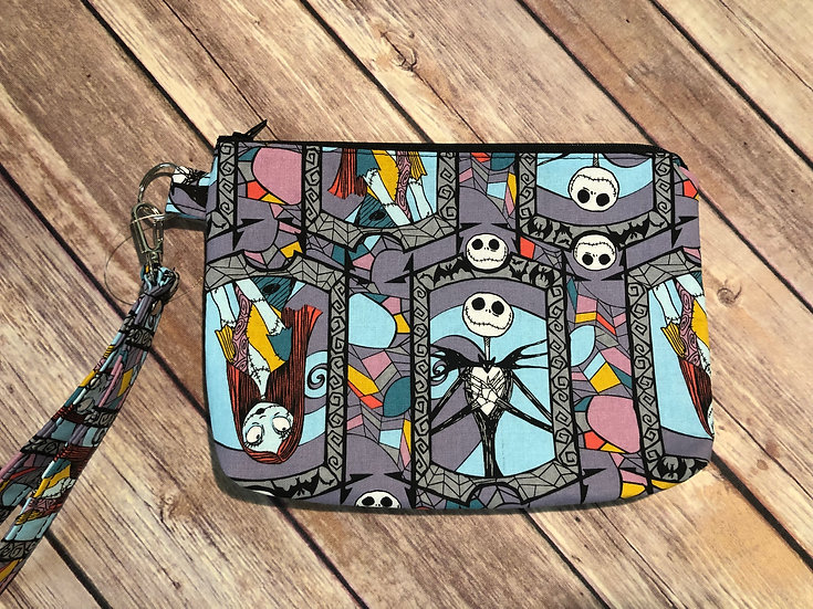 Jack & Sally stained glass themed Wristlet - Made to Order