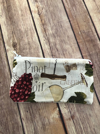 Wine themed Zipper Pouch - Ready to Ship