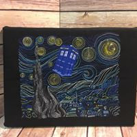 Van Gogh Starry Tardis - Embroidered Wall Art - Made to Order