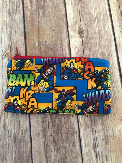 Superman on blue Zipper Pouch - Ready to Ship