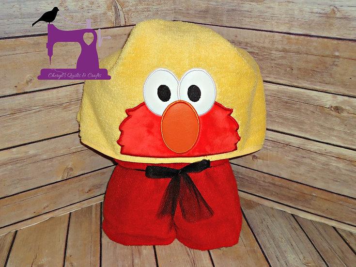 Elmo Inspired Hooded Towel