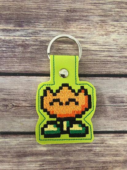 8 bit Flower Embroidered Key Chain