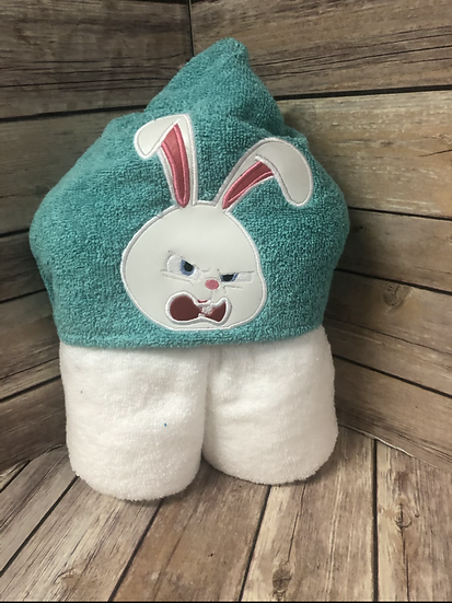 Snowball the Rabbit Child Size Hooded Towel - Ready to Ship
