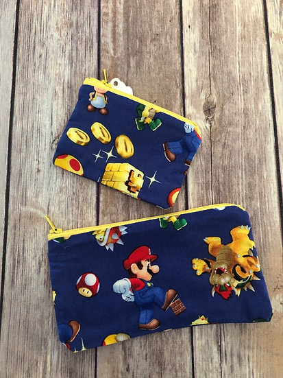 Mario on blue Zipper Pouch - Ready to Ship