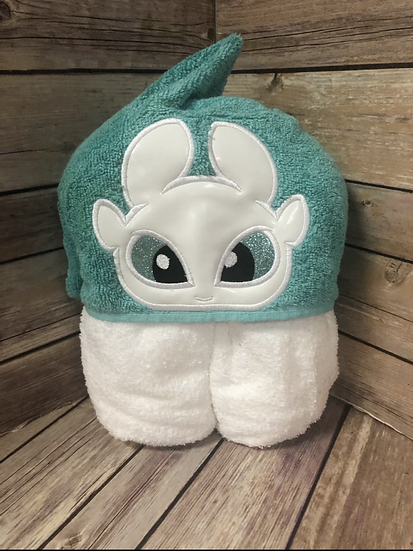 Light Fury White Dragon Child Size Hooded Towel - Ready to Ship
