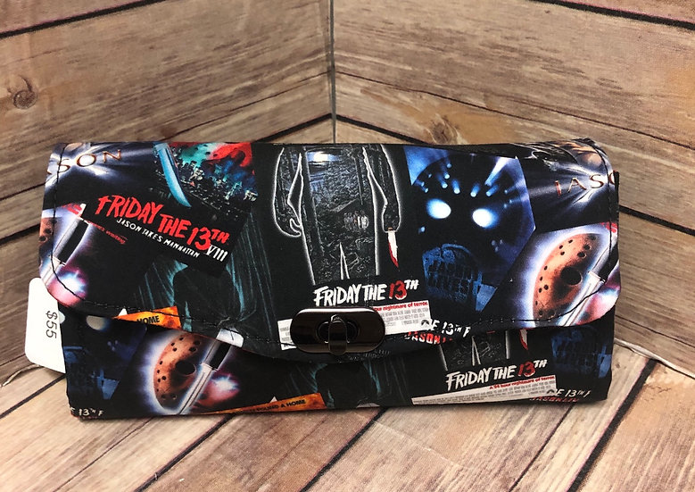 Friday the 13th Movie Posters themed Necessary Clutch Wallet-Ready to Ship