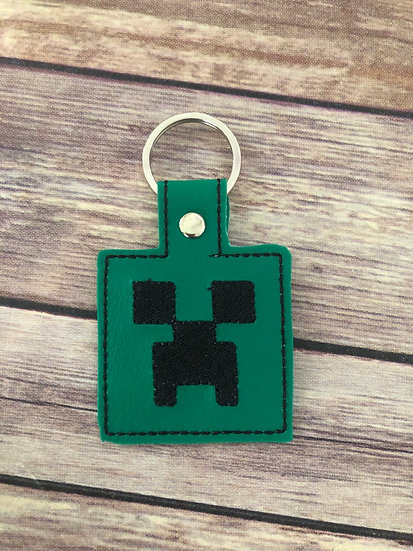 Creeper Embroidered Key Chain