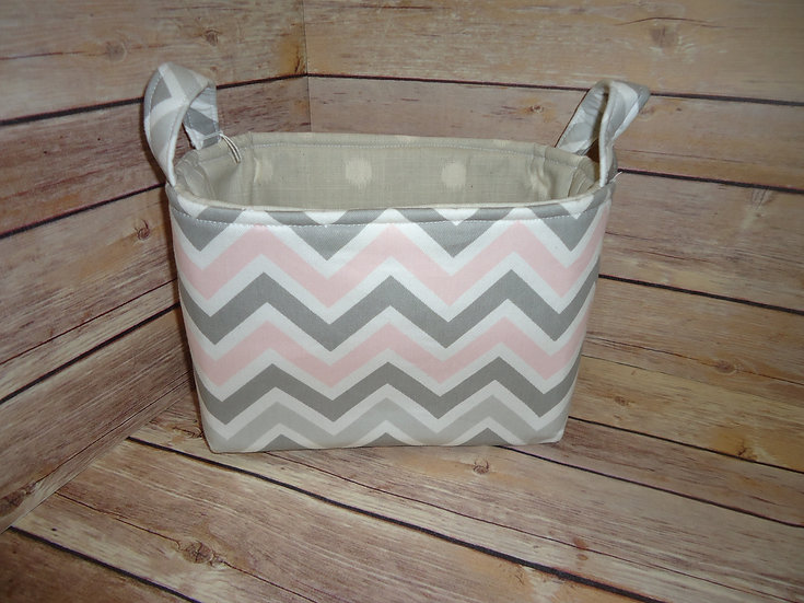 Pink & Gray Chevron Fabric Storage Basket