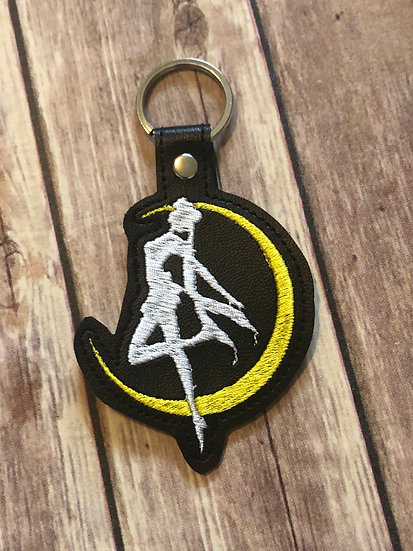 Magical Lunar Girl Silhouette Embroidered Key Chain
