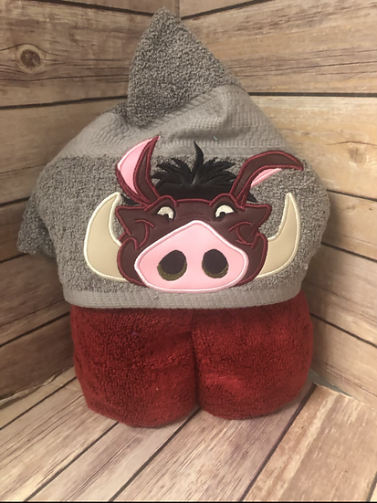 Pumbaa Child Size Hooded Towel - Ready to Ship