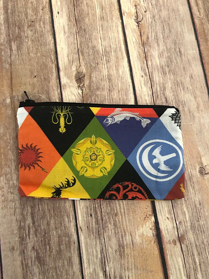 Game of Thrones Sigils on diamond Zipper Pouch - Ready to Ship