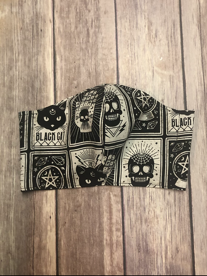Black Cat Tarot Cards Themed Adult Washable Fabric Face Mask - Elastic or Ties