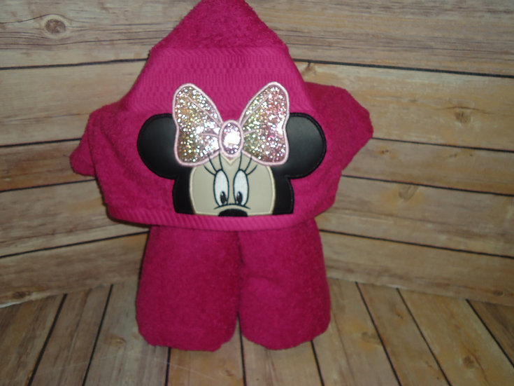 Minnie Mouse Inspired Hooded Towel