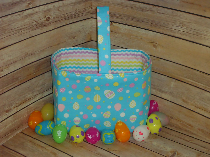 Easter Fabric Basket ~Blue w/Easter Eggs