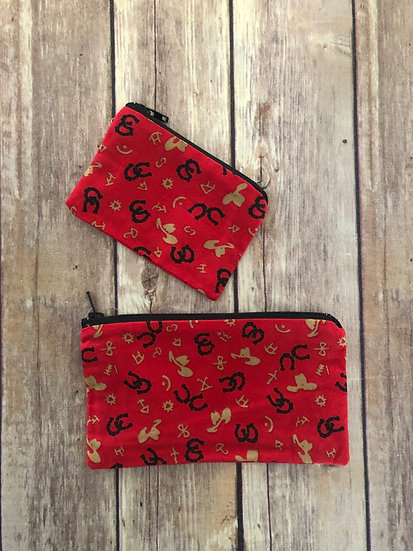 Cowboy/Western Themed Zipper Pouch - Ready to Ship