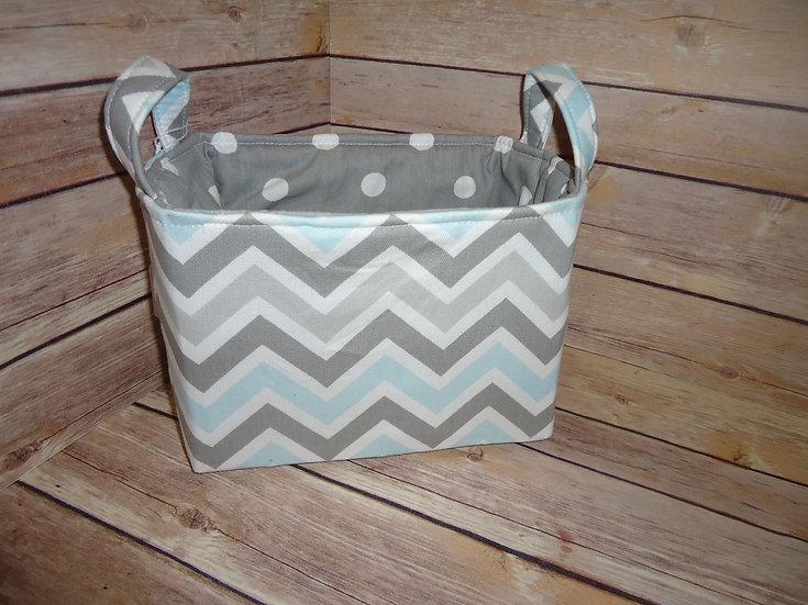 Blue & Gray Chevron Fabric Storage Basket