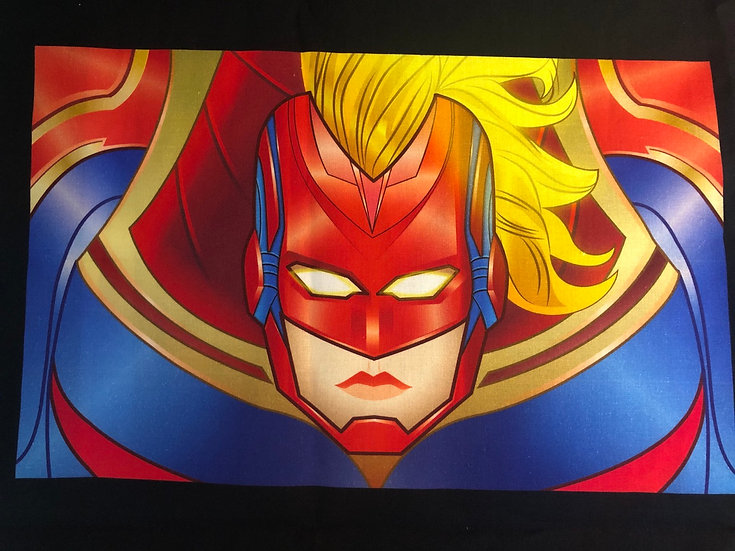 Captain Marvel Themed Washable Fabric Face Mask - Elastic or Ties