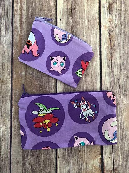 Pokemon on Purple Zipper Pouch - Ready to Ship
