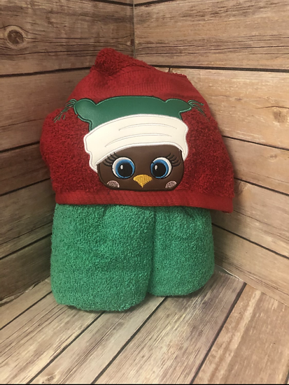 Holiday Owl in Green Hat Child Size Hooded Towel - Ready to Ship