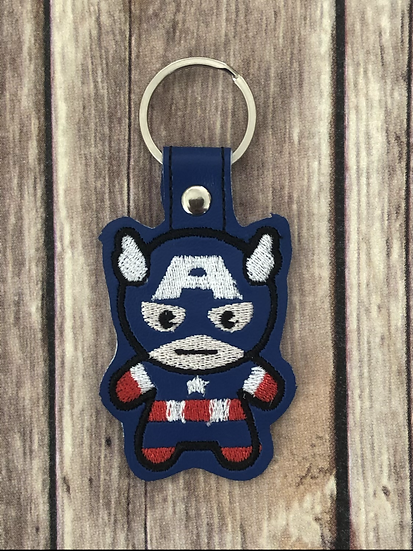 Captain America Chibi Embroidered Key Chain