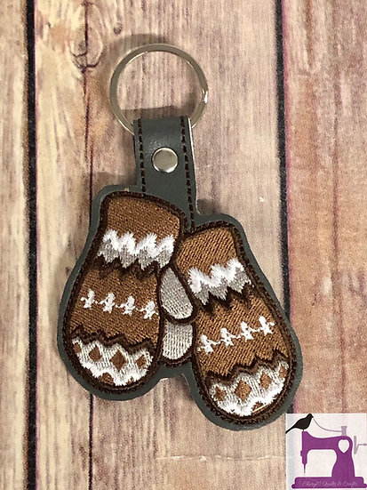 Mittens Embroidered Key Chain