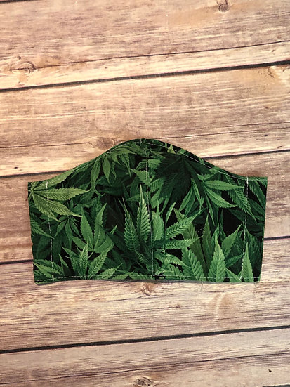 Cannabis Themed Adult size Washable Fabric Face Mask - Elastic or Ties