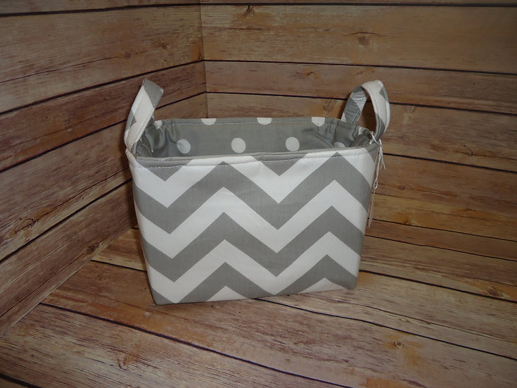 Gray & White Chevron Fabric Storage Basket
